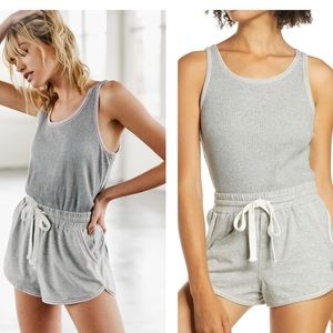Free people grey combo play suit romper